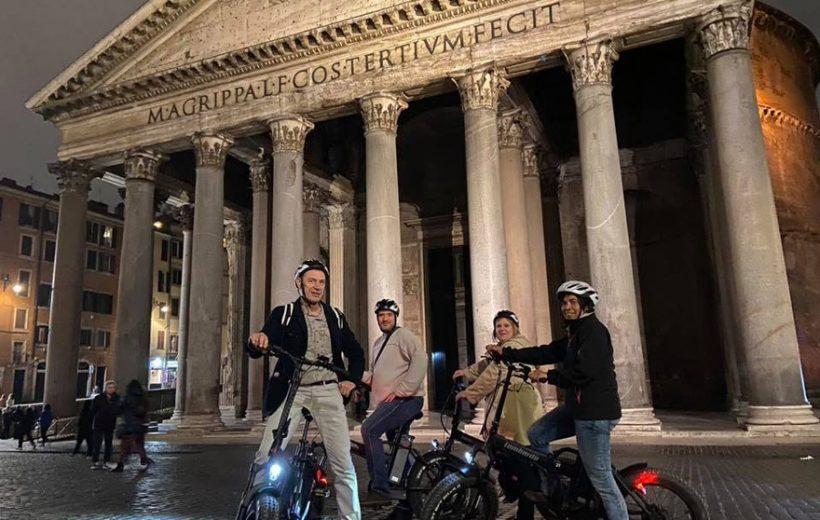 Coucher du soleil et Rome by night en E-bike